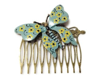 Vintage Butterfly Collage Hair Comb OOAK