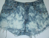 Bleach Dyed High Waisted Shorts