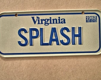 "Bicycle License Plate 1982 Virginia "" Splash State"" From Honey Comb Cereal"" Mint Plate"