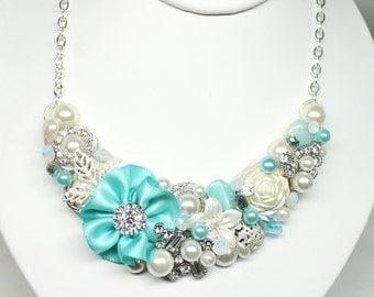 Aqua Blue Bib Necklace- Aqua Statement necklace- Aqua Necklace- Aqua Bridal accessories- Sea Blue Necklace- Sea Glass Blue Necklace