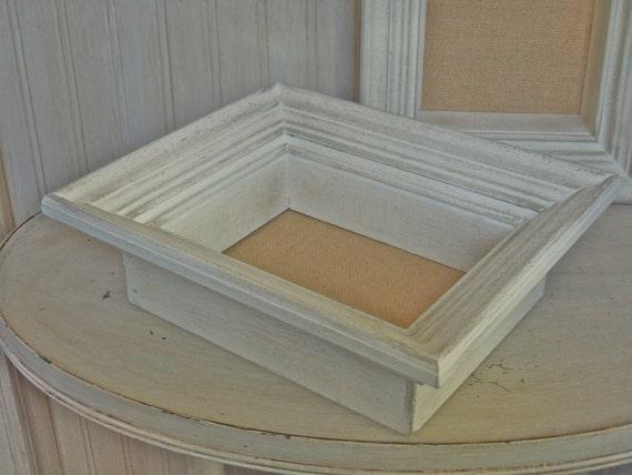 vintage shadowbox frame wood shadow box frame white chippy frame