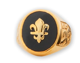Fleur De Lys Ring Overlaid Onyx Gold Plated Sterling Silver 925