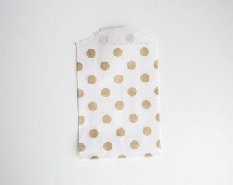 20 Small Gold Metallic Polka Dot Party Treat Bags, Goodie Bags, Candy Bags - Birthday, Bridal Shower, Baby Shower, Wedding, Gift