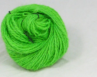 Key lime  alpaca - Handspun alpaca yarn. 2 ply. hand combed, hand dyed and hand spun
