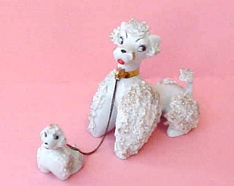 Darling 1950's Mama with Pup Poodle Figurines in Powder Blue