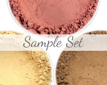 Matte Deep Contour, Highlight, and Blush Sample Set - Lovely, Cove, and Soft Sand (3 x .75g Net wt Sample Jars) Vegan Mineral Makeup Set