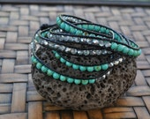 SALE- 5 Wrap bracelet, turquoise, silver crystals, black leather, beach, beaded 5 wrap, Boho, Casual, Stacked, neutral bracelet, swimsuit, H