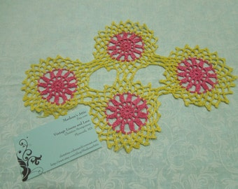 Vintage 10 x7 inch round Pink and Yellow Hand Crochet doily for crafts, shabby chic, housewares, linen, trim, valentines, by MarlenesAttic