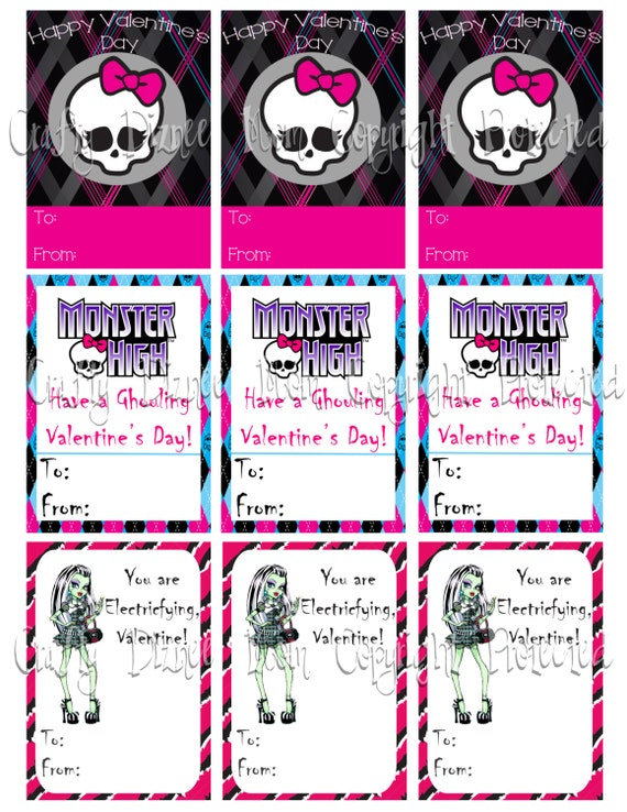 Items similar to Monster High Printable Valentines Cards on Etsy – Monster Valentine Cards