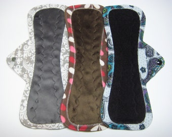 "12"" OBV or Minky Overnight Cloth Menstrual Pads / Post Partum Pads - Set of 3 - Customize Your Flow Level and Fabrics"