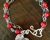 LOVE YOU- Hand Stamped and Soldered Beaded  Bracelet