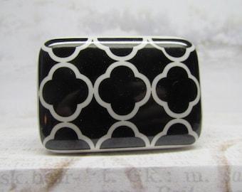 Black & White Rectangle Drawer Knob Wine Bottle Stopper