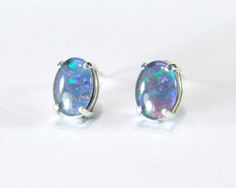 Opal (Australian Mosaic 'Triplet' Opal), 8mm x 6mm Oval Cabochon, Sterling Silver Post Earrings