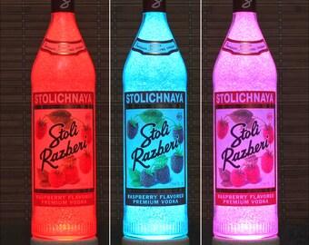 Stoli Razberi Raspberry Latvia Vodka Color Change Remote Control LED Bottle Lamp Light