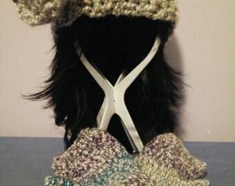 Vintage Crochet hat with fingerless gloves
