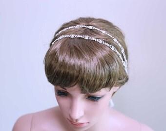 Bridal Wedding Hair Jewelry, Rhinestone Crystals Ribbon Hairband, Rhinestone Crystal Headband, Double Crystal Rows Headband, Bridal Headband