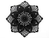 Black Doily - Small Round Pineapple - Egyptian Cotton - Lace Crochet Modern Geometric Gothic Victorian Home Decor Halloween Ironwork Gift