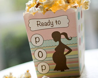 "Ready to Pop ""The Original""  Pink Blue Baby Shower Popcorn Favor Box (SET OF 10)"