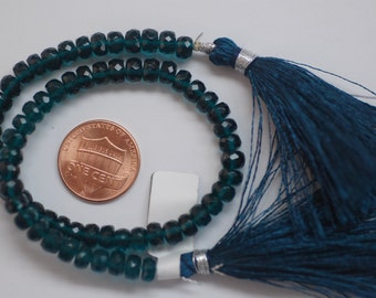 Hydro Teal Blue Rondelle Faceted