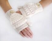 Ivory Convertible Fingerless Mittens, Crochet Glittens, Ivory Texting Mittens, Women Crochet Gloves, Winter Fashion, Ivory Mittens