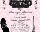 Paris Girl Baby Shower Invitation