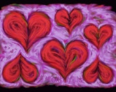 Heart drift Print download Abstract decorative artwork composition Floating red hearts on loosely fluidly painted pink purple background