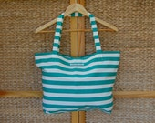 Robin and Wren large handmade canvas tote bag, fully lined. Green candy stripe.