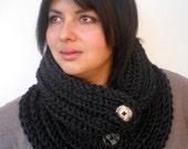 SALE Fashion  Big Cowl   Super Soft Neckwarmer Woman/Men Charcoal Grey Cowl NEW