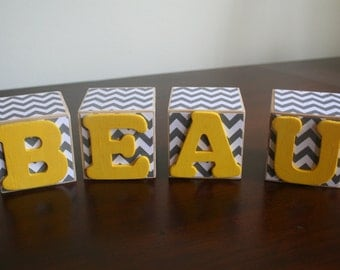 Chevron Baby Name Blocks - Nursery Blocks - Nursery Decor - Custom Baby Name Blocks - Baby Shower gift - Newborn Photo prop - Baby Name