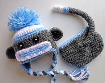 Newborn Crochet Blue Sock Monkey Hat and Diaper Cover- Baby Boy baby Girl- Photo prop