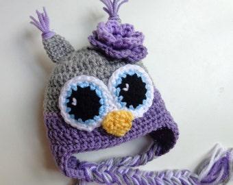 Newborn Girl Crochet Purple and Gray Owl Hat, Photo Prop, baby Girl