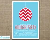 Christmas Party Invitation - Christmas Invitation - Holiday Party Invitation - Christmas Printable - Holiday Printable - Chevron Invitation