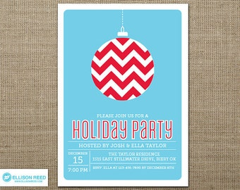 Christmas Party Invitation - Christmas Invitation - Holiday Party Invitation - Christmas Printable - Holiday Printable - Chevron Invitation