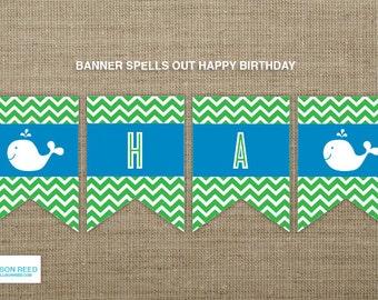 Chevron Whale Birthday Printable - Nautical Birthday - First Birthday - Beach Printable - chevron birthday - Boy Birthday - water birthday