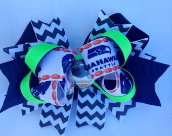 Seattle Seahawks  Stacked Boutique Hair bow