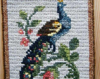 Nice Vintage Swedish Wall Hanging - Bird/ Peacock on a Red Flower Bush Branch -  Hand Made Home Decoration