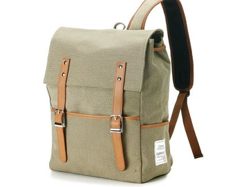 Belt point Cotton Backpack (Khaki)