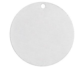 10pc Silver Plated Round Copper Stamping Blank Tags - 15mm - Jewelry Finding, Jewelry Making Supplies, Necklace, DIY, Ships from USA - C45