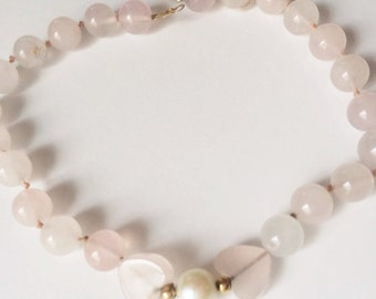 14K Rose Quartz Bracelet, Heart Beads, Genuine Pearl Vintage Bracelet, Romantic Jewelry Gift