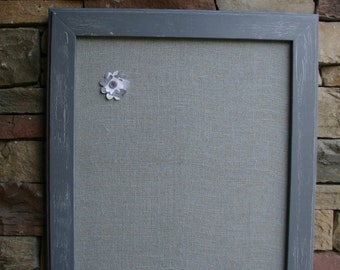"""18x22"""" Gray VintageStyle Frame with Gray Burlap Cork Board"""