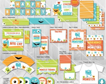 Little Monster Birthday Party Decorations | Printable Boys Monster Party Package | Invitation Available | Instant Download