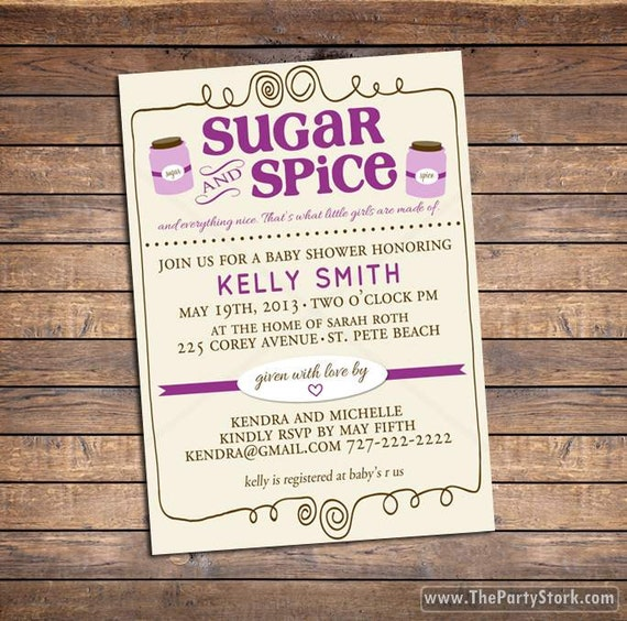 baby shower invitation sugar and spice baby girl shower invites