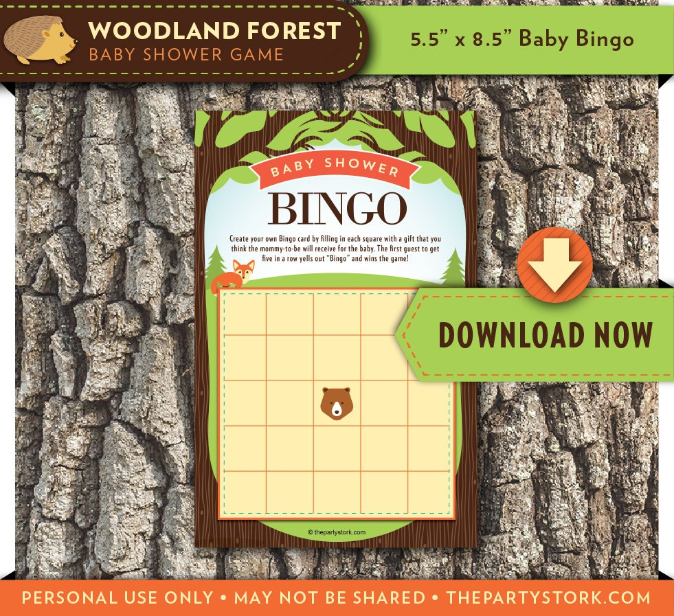 Woodland baby shower games printable forest theme bingo card for Baby decoration games