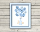 Baby Balloon Guest Book for a baby shower or new baby gift - choice of color