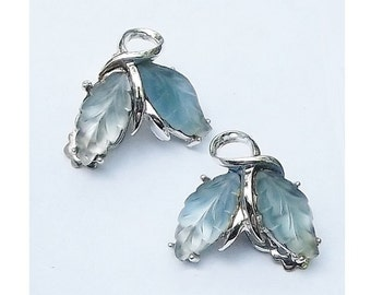 Vintage Earrings, Soft Blue, Molded Glass, 1960s Designer style