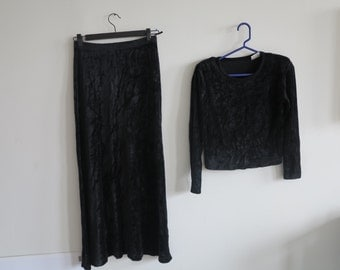 Vintage Sonia Rykiel 80s 90s black velour matching set top and bottom two piece crop body con tumblr