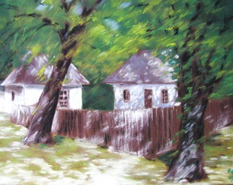 Romanian Village Houses, old cottages spring trees, rural, fine art print of pastel chalks drawing