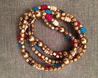 Colorful multistrand stretch bracelet