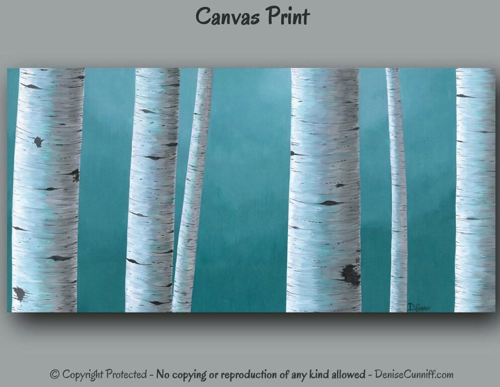 Birch Tree Landscape Painting Canvas Art Print Gray Blue
