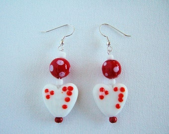 Adorable White & Red Heart Earrings Valentines Day Gifts Polka Dot Gifts for Her Red Earrings Cute Earrings Girlfriend Gifts Under 10
